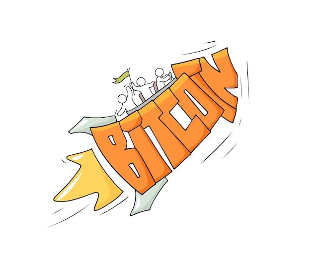 Schets van kleine mensen met vliegwoord bitcoin. doodle schattige miniatuurscène over cryptocurrency. hand getekend cartoon vectorillustratie.
