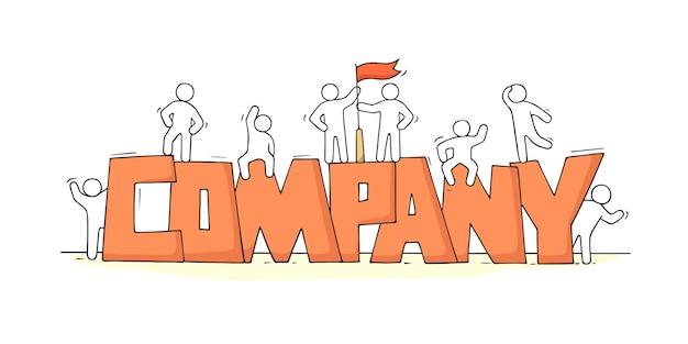 Schets van kleine mensen met woord company doodle schattige miniatuurscène over werk
