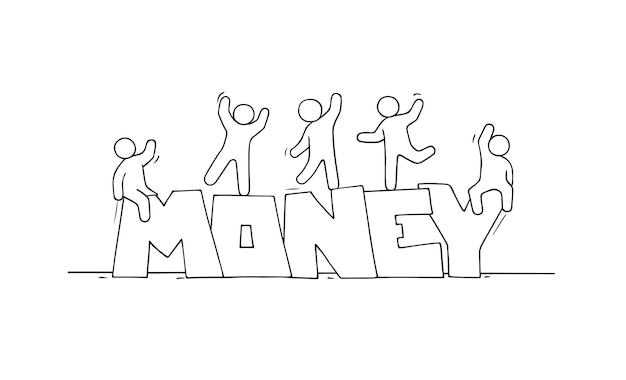 Schets van kleine mensen met woord geld.