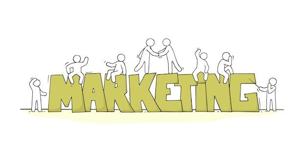 Schets van kleine mensen met woord marketing.