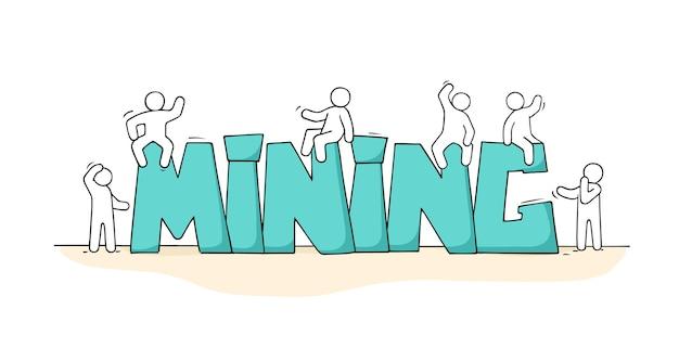 Schets van kleine mensen met woord mijnbouw. doodle miniatuurscène over productie cryptocurrency.
