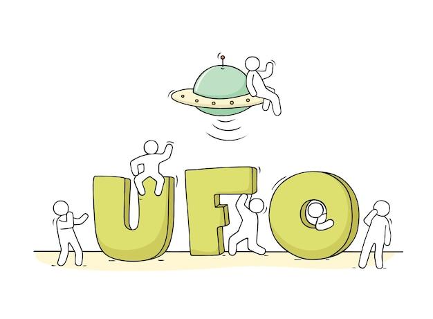 Schets van kleine mensen met woord ufo.