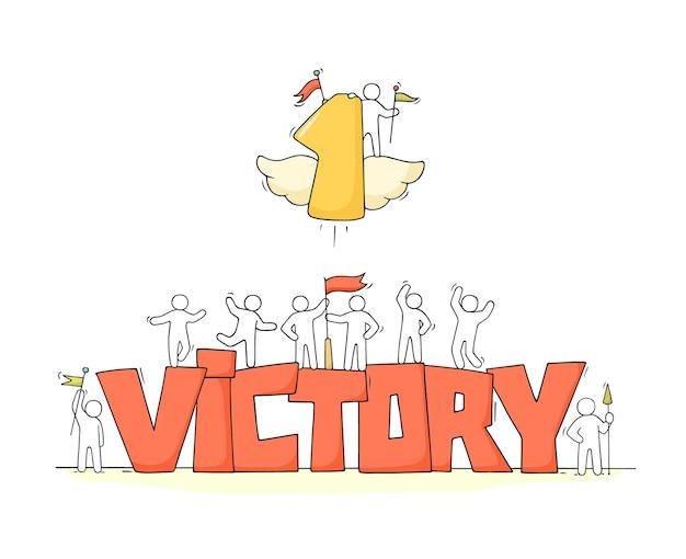 Schets van kleine mensen met woord victory.