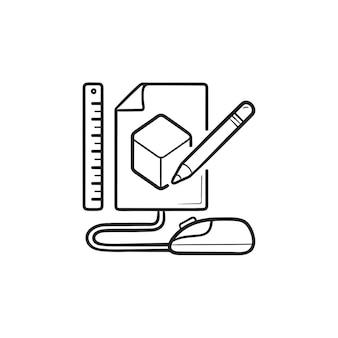 Schets van kubus prototyping hand getrokken schets doodle pictogram. productmodel, ontwerp, softwareprototypingconcept. schets vectorillustratie voor print, web, mobiel en infographics op witte achtergrond.