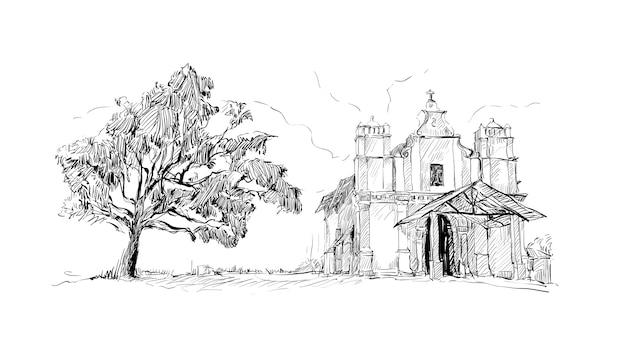 Schets van landschap toont india kerk katholiek oud gebouw en grote boom, illustratie