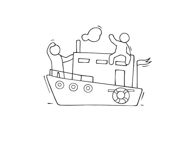 Schets van mannetjes varen per boot