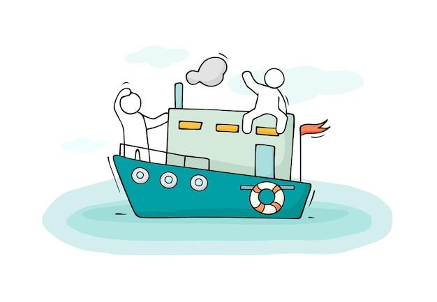 Schets van mannetjes varen per boot.