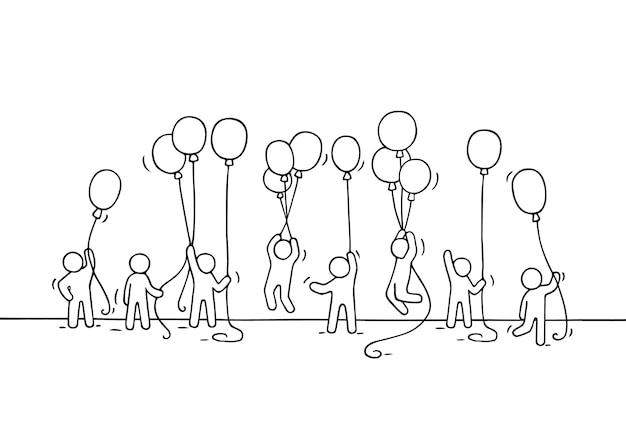 Schets van menigte kleine mensen. doodle schattige miniatuurscène van arbeiders met ballonnen. hand getekende cartoon voor zakelijke en feest ontwerp.