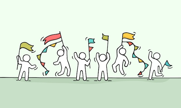 Schets van menigte kleine mensen. doodle schattige miniatuurscène van arbeiders met vlaggen. hand getekend cartoon afbeelding voor zakelijke en feest ontwerp.