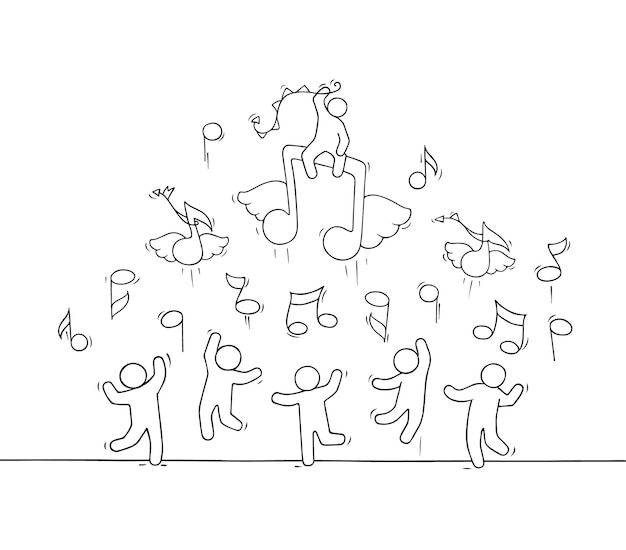 Schets van menigte kleine mensen met vliegende notities. handgetekende cartoon afbeelding muzikaal ontwerp Premium Vector