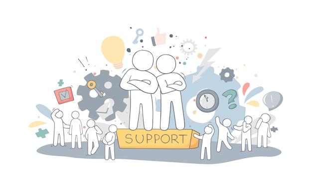 Schets van mensen ondersteuning. doodle cartoon werkende mannen. vectorillustratie voor zakelijke ontwerp.