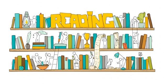 Schets van mensen teamwork, boeken