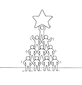 Schets van piramide met werkende kleine mensen. handgetekende cartoon afbeelding Premium Vector