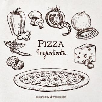 Schets van pizza met ingrediënten