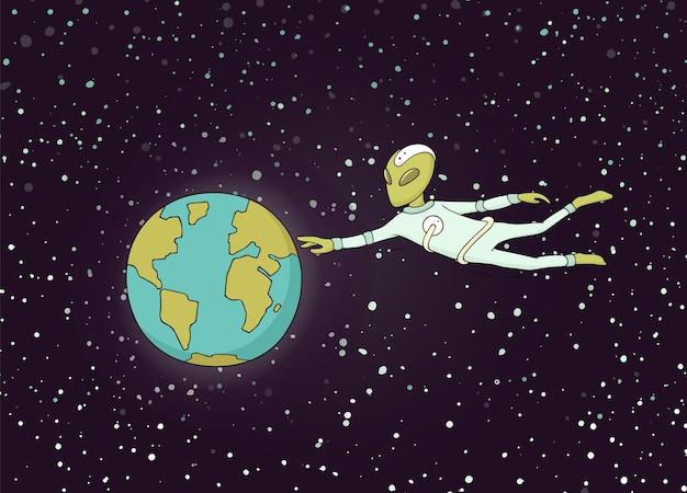 Schets van planeet en alien