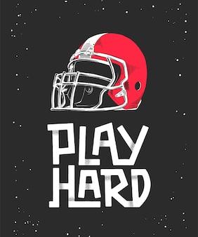 Schets van rode amerikaanse voetbal helm, belettering