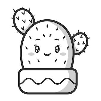 Schets van schattige cactustekening om in te kleuren