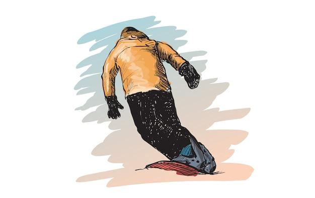 Schets van snow board man riding, wintersport, snowboarden collectie, gratis hand tekenen illustratie