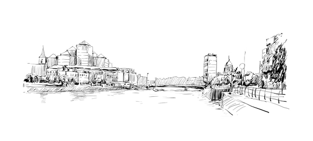Schets van stadsgezicht in dublin show skyline en gebouw langs de rivier de llffey