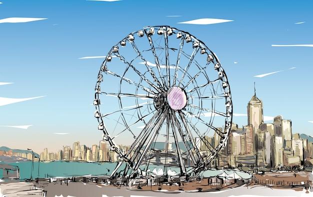 Schets van stadsgezicht in hong kong toont stadsbeeld en gebouw illustratie
