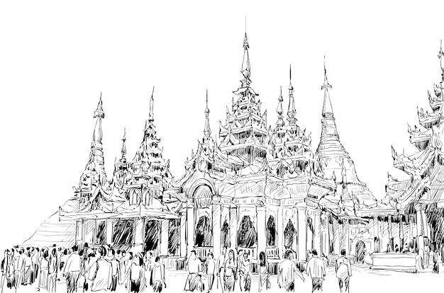 Schets van stadsgezicht in myanmar tonen shwedagon-pagode en lokale volkeren bij tempel, azië-stijl, illustratie