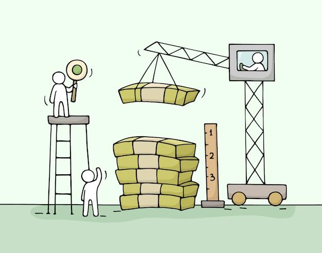 Schets van stapel geld met werkende kleine mensen