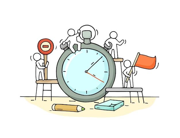 Schets van stopwatch met werkende kleine mensen