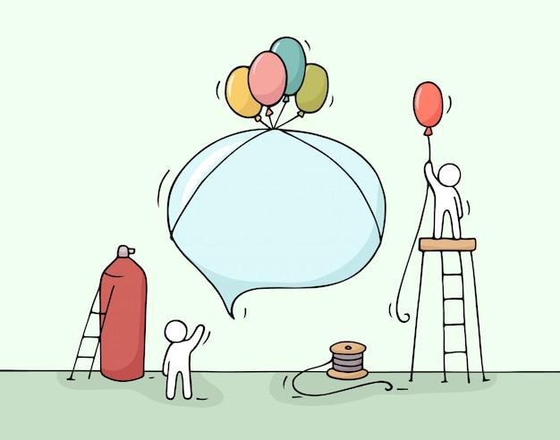 Schets van tekstballon met werkende kleine mensen.