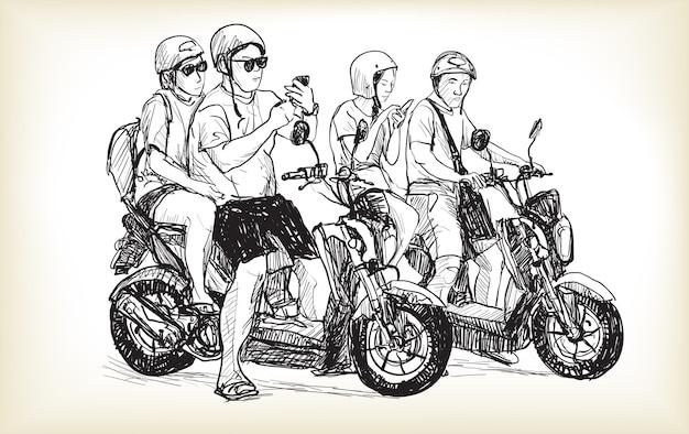 Schets van touring motor in de stad