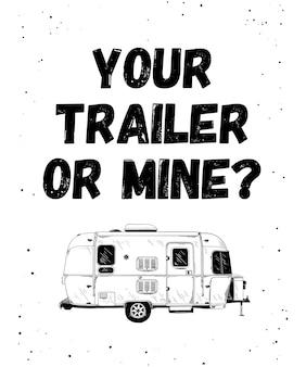 Schets van trailer met grappige typografie