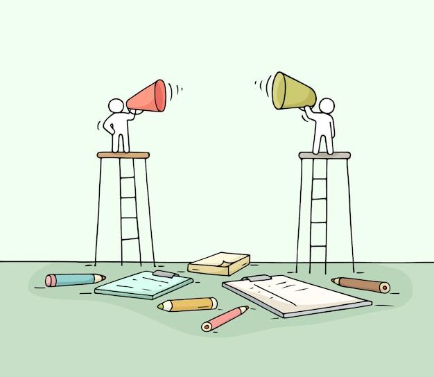 Schets van twee sprekers.