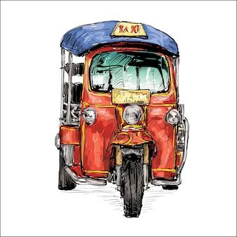 Schets van vervoer stad toon traditionele taxi motor driewieler in thailand, illustratie