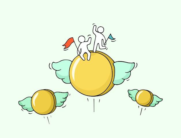 Schets van vliegende munten met kleine arbeiders. doodle schattige miniatuur met geld en teamwerk. hand getekende cartoon voor zakelijke en financiële ontwerp.