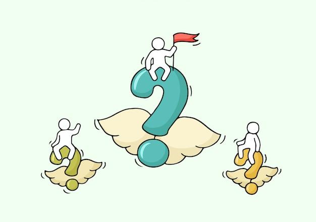 Schets van vliegende vragen met kleine arbeiders.
