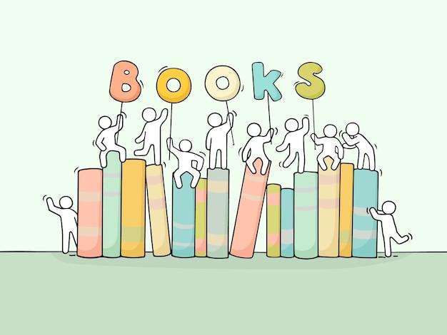 Schets van werkende kleine mensen met boeken.