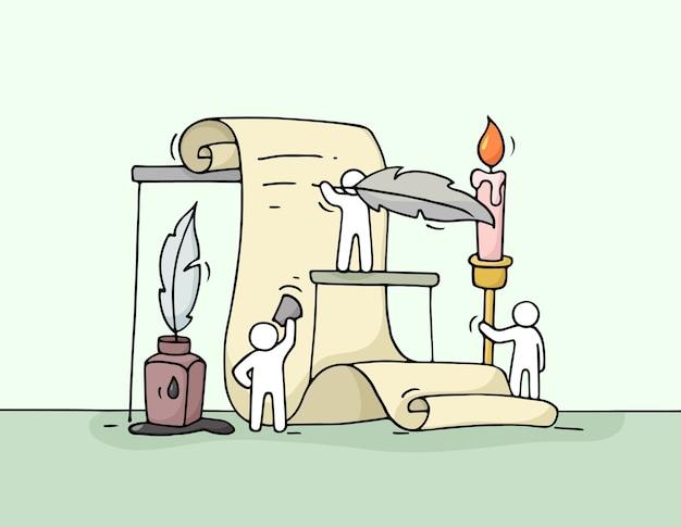 Schets van werkende kleine mensen met document. doodle schattige miniatuur van teamwerk.