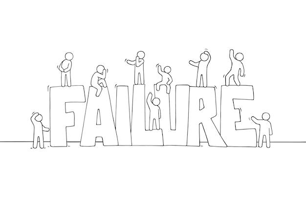 Schets van werkende kleine mensen met groot woord mislukking.