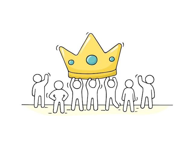 Schets van werkende kleine mensen met grote kroon. doodle schattige miniatuurscène van arbeiders over succes. hand getekend cartoon afbeelding