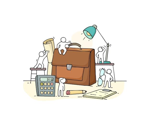 Schets van werkende kleine mensen met koffer.