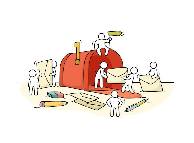 Schets van werkende kleine mensen met open brievenbus