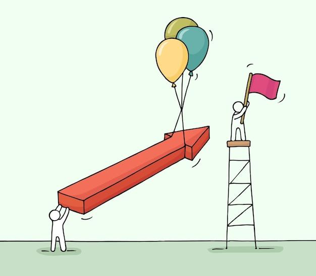 Schets van werkende kleine mensen met pijl, luchtballonnen