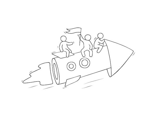 Schets van werkende kleine mensen met pijl, teamwork. vectorillustratie voor zakelijk ontwerp