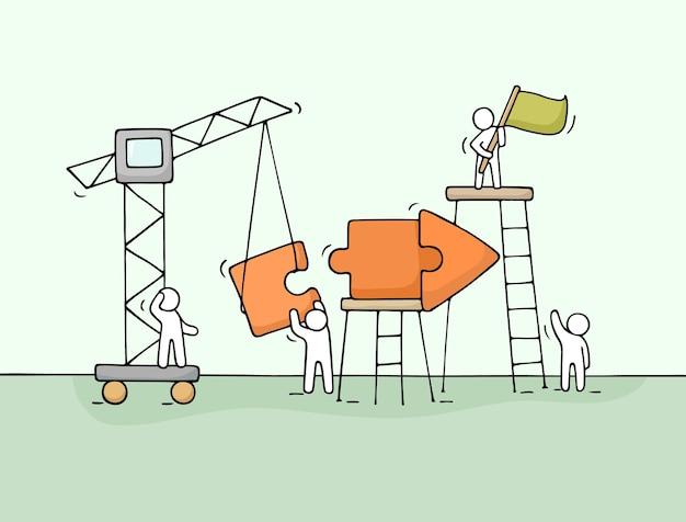 Schets van werkende kleine mensen met pijlillustratie