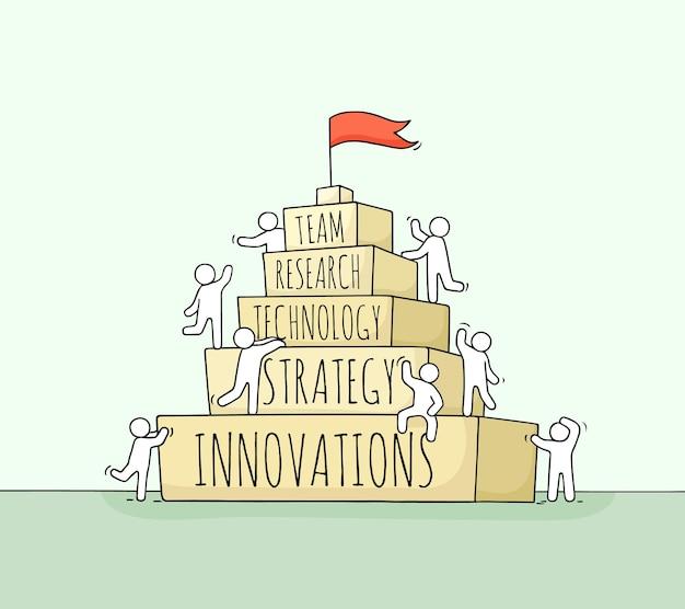 Schets van werkende kleine mensen met piramide. hand getekende cartoon