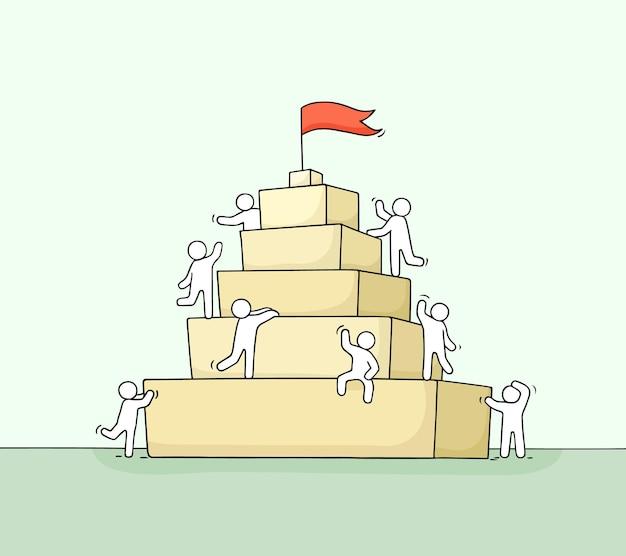 Schets van werkende kleine mensen met piramide