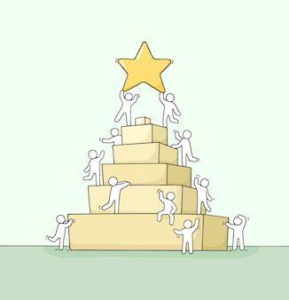 Schets van werkende kleine mensen met piramideillustratie