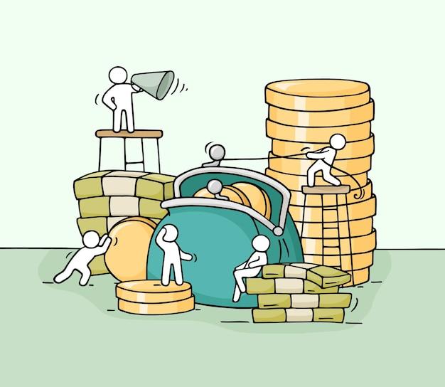 Schets van werkende kleine mensen met portemonnee. hand getekende cartoon