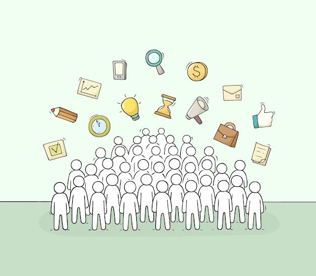 Schets van werkende kleine mensen met tekenen illustratie