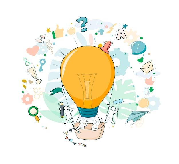 Schets van werkende kleine mensen met vliegend lampidee. vectorillustratie voor zakelijk ontwerp