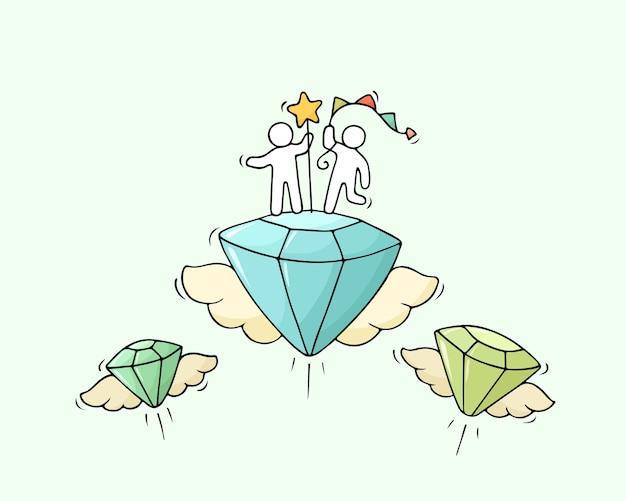 Schets van werkende kleine mensen met vliegende diamanten. doodle schattige miniatuurscène van arbeiders. hand getekend cartoon vectorillustratie voor zaken en modeontwerp.